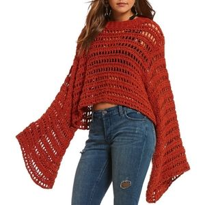 Free People Caught Up Bell Sleeve Crochet Sweater